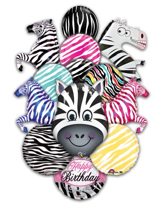 Zebra Themed Balloons Mylar and Latex Balloons