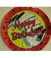 """18"""" Happy Birthday Piano Keys Fuschia Balloon"""