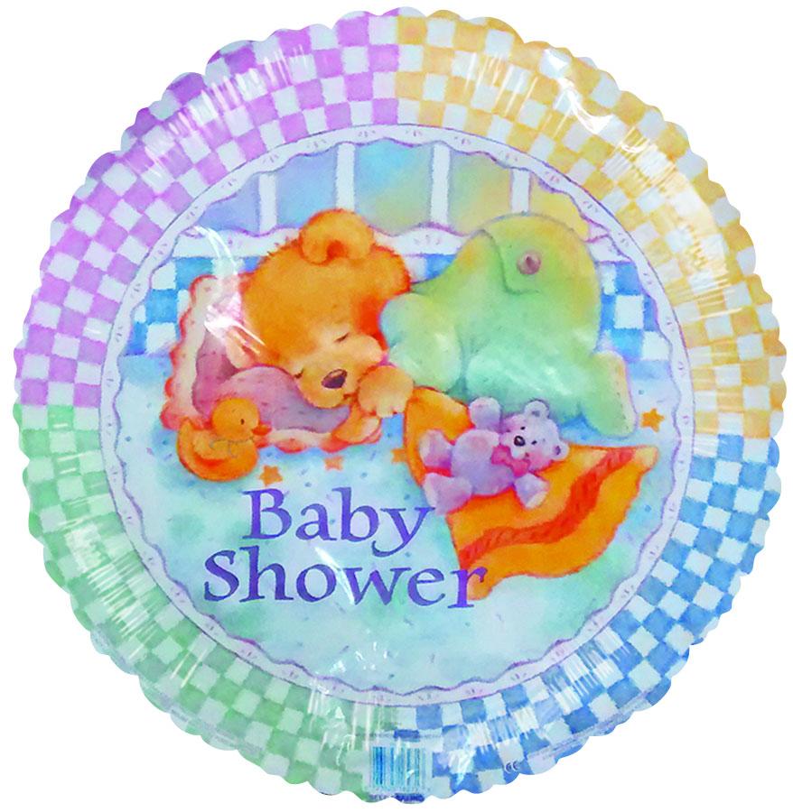 "18"" Baby Shower Sleeping Bear Checkered Border"