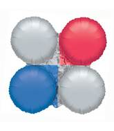 """30"""" MagicArch Large Balloon Metallic Red, Silver & Blue"""