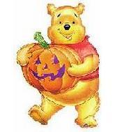 """29"""" Pooh Holding Jack O'Lantern"""