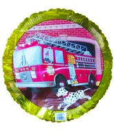 "18"" Fire Truck Number 9 Birthday Gold Border"