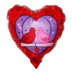 "9"" ILY Love Birds Heart Shaped Airfill-Only Balloon"