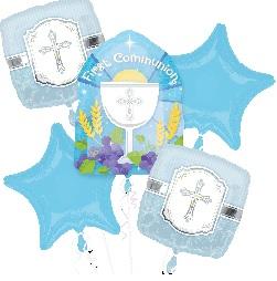 First Communion Bouquet Balloons Blue