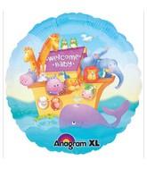 "18"" Welcome Baby Noah's Arc Animals Mylar Balloon"