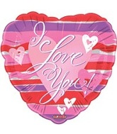 "2"" I Love You Pink Hearts & Stripes"