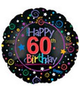 "18"" Happy 60th Birthday Black"