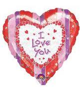 "9"" I Love You Stripes & Hearts Airfill-Only Balloon"