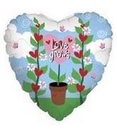 """18"""" Love Grows Pot Flower Heart"""