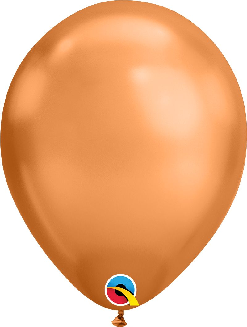 """7"""" Chrome Copper Gold 100 Count Qualatex Latex Balloons"""
