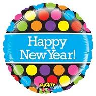 """21"""" Mighty Bright Polka Dot New Year Balloon"""