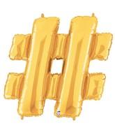 "40"" Foil Shape Balloon Gold Hashtag Megaloons"