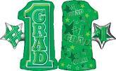 """28"""" #1 Grade Shape Green Mylar Balloon"""
