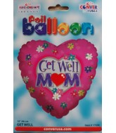 """18"""" Get Well Mom Floral Pink Heart Shaped Balloon"""