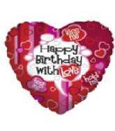"18"" Happy Birthday With Love Heart"