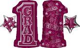 """28"""" #1 Grade Shape Burgundy Mylar Balloon"""