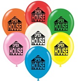"17"" Open House Printed Latex Balloons 50 Per Bag"