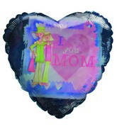"""18"""" Daughter Mother I love You Mom Blue & Pink Heart"""