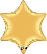 "22"" Qualatex 6-Point Star Foil Mylar Balloon Gold"