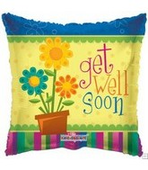 "4"" Airfill Get Well Square Flower Pot"