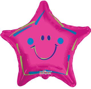 "18"" Smiley Face Star Shaped Mylar Balloon"