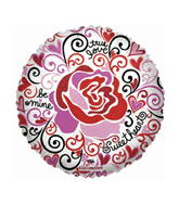 """18"""" Love Notes Trendy Rose Clear Balloon"""