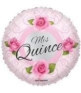 """18"""" Mis Quince Globo Con Rosas"""