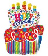 "36"" Happy Birthday Colorful Cake Shaped Jumbo Balloon"