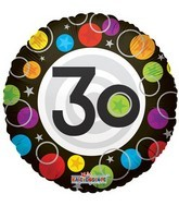 """18"""" Foil Balloon Number 30 Dots"""