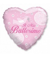 "18"" Il Mio Battesimo Girl Dove Heart Mylar Balloon"