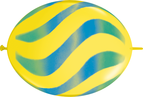 """12"""" Quicklink Yellow 50 Count Wavy Stripes/Green & Blue"""