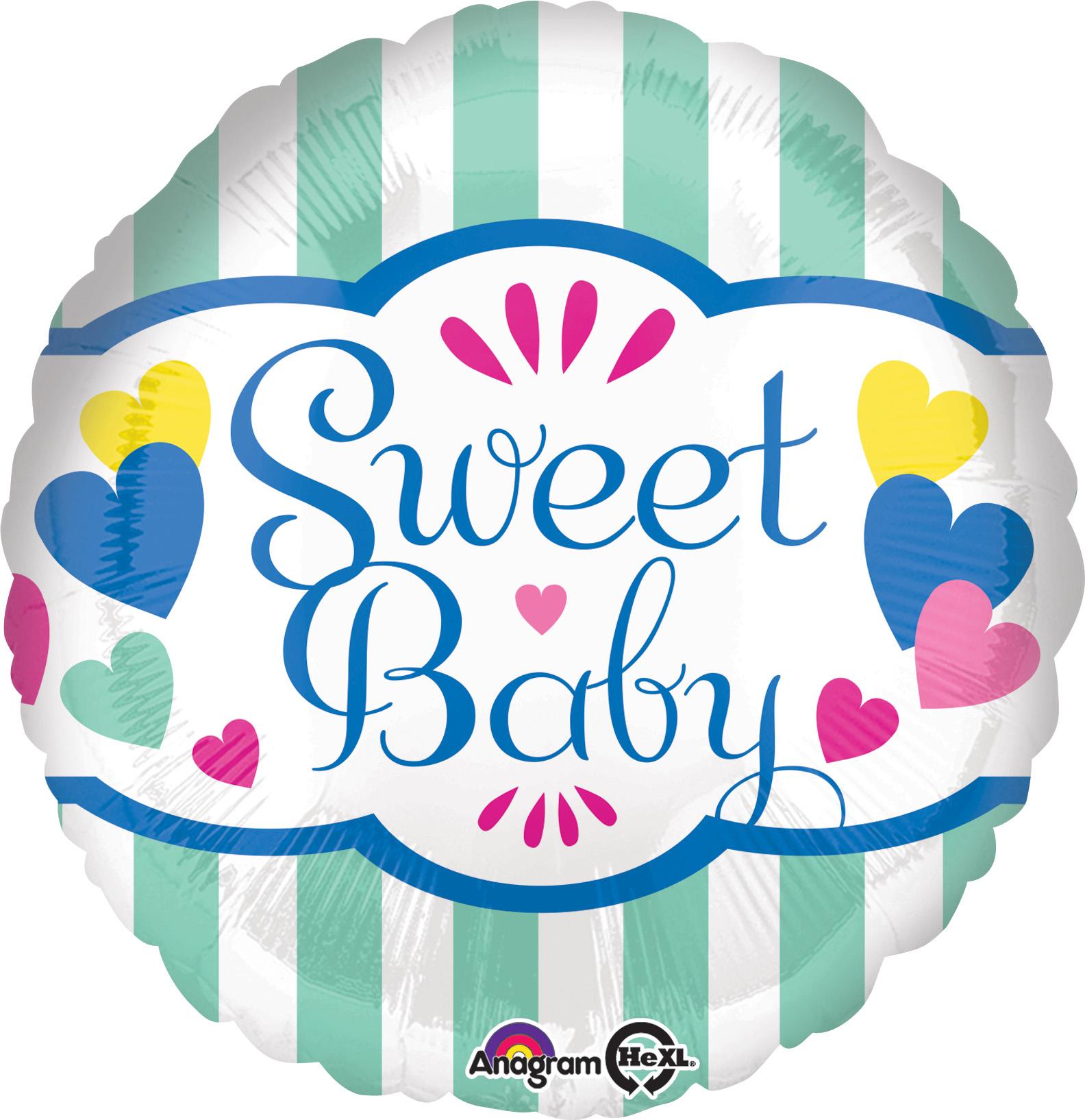 "18"" Sweet Baby Stripes & Hearts Balloon"