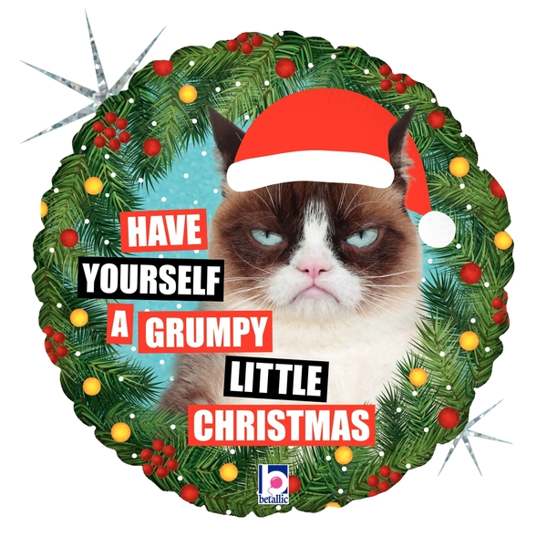 """18"""" Holographic Licensed Balloon Grumpy Cat Christmas"""