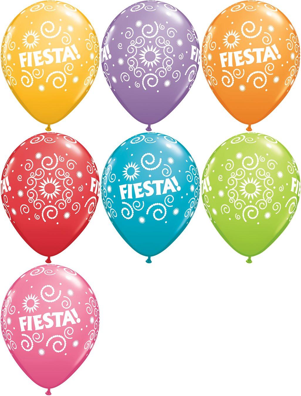 "11"" Festive Assorted 50 Count Fiesta Swirls"