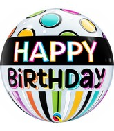"""22"""" Single Bubble Packaged Birthday Black Band & Dots"""
