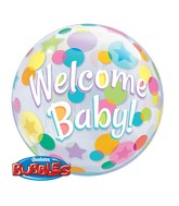 """22"""" Single Bubble Packaged Welcome Baby Colorful Dots"""