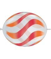 """12"""" Quicklink Diamond Clear 50 Count Wavy Orange/Red"""