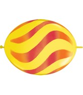 "12"" Quicklink Yellow 50 Count Wavy Stripes/Orange & Red"