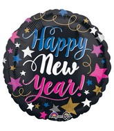 """18"""" Happy New Years Pink & Blue Balloon"""
