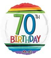 """18"""" Rainbow Birthday 70 Balloon"""