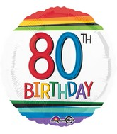 """18"""" Rainbow Birthday 80 Balloon"""