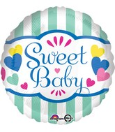 "18"" Sweet Baby Stripes & Hearts Balloon"