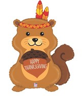 "35"" Foil Shape Happy Thanksgiving Squirrel"