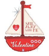 "37"" Holographic Shape Sail Away with Me Valentine"