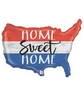 "33"" Foil Shape Patriotic Home Sweet Home"