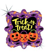 """18"""" Square Holographic Balloon Trick or Treat Pumpkins"""