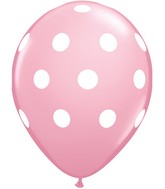 "11"" Pink 50 Count Big Polka Dots (White)"