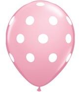 "11"" Pink 50 Count Big Polka Dots (White)"