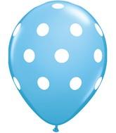 "11"" Pale Blue 50 Count Big Polka Dots (White)"