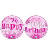 """22"""" Single Bubble Packaged Birthday Pink Starburst Sparkle"""